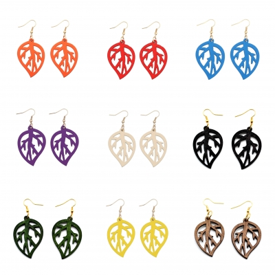 wood leaf filigree earrings wooden jewellery rebeljewel rebel jewel