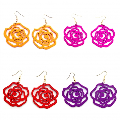 wood flowers rose earrings wooden jewellery fashion rebeljewel rebel jewel