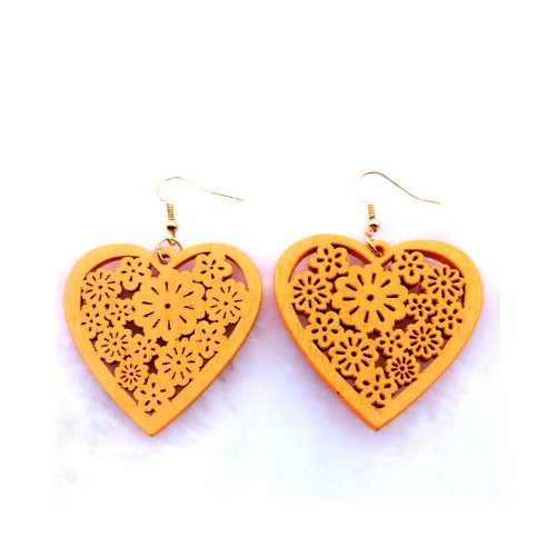 wood heart drop earrings. wooden dangle jewelry rebel jewel jewellery fashion