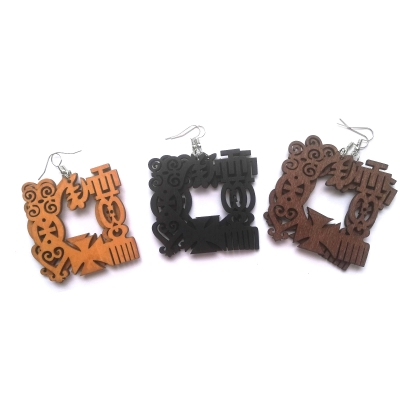 adinkra symbol duafe gye nyame sankofa wood earrings rebeljewel rebel jewel