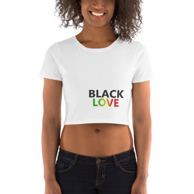 black love rasta white crop top
