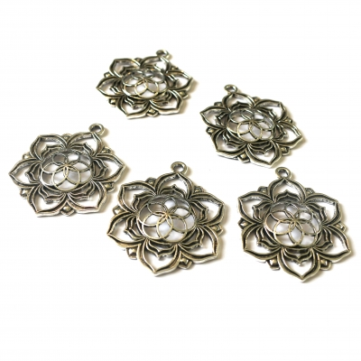 silver flower lotus charms pendants rebeljewel rebel jewel
