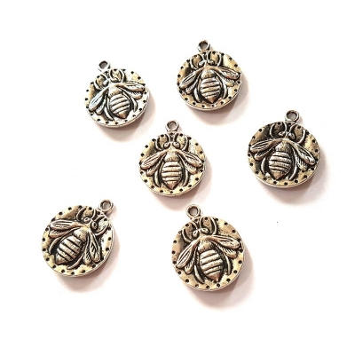 silver tone bee charms pendants rebeljewel rebel jewel