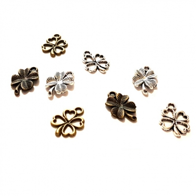 four leaf clover shamrock charms bronze silver pendants rebeljewel rebel jewel