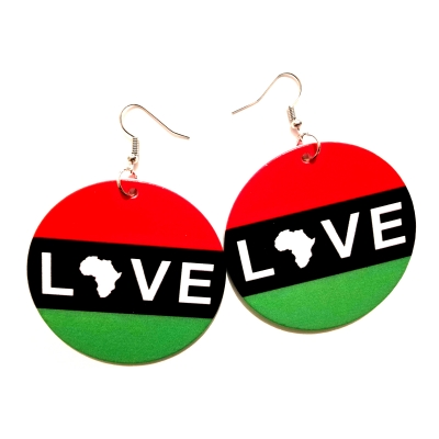 rbg Garvey Africa love wood round drop earrings rebeljewel missrebeljewel rebel jewel