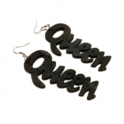 black queen wood drop earrings rebel jewel rebeljewel fashion jewellery