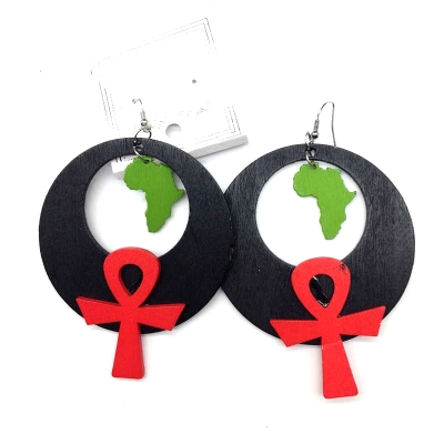round garvey ankh africa wood earrings rebeljewel rebel jewel
