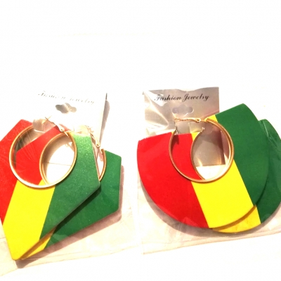 semi circle triangle rasta red yellow green wood large earrings gold trims rebel jewel rebeljewel jewellery jewelry